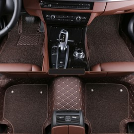 High-Grade Diamond Details Sewing Craft Coffee Style Double Layer Leather Dedicated Car Carpet