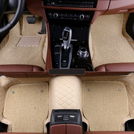Double Padded Layer Thickened Pure Beige Waterproof All Weather Leather Custom Fit Car Floor Mats