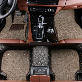 Double Padded Layer Unique Design Special Custom Fitted Durable Leather Car Floor Mats