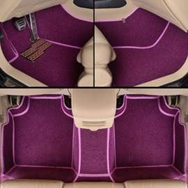 Attractive Magic Purple Color PVC Leather And Soft Velvet Custom Fit Car Floor Mats