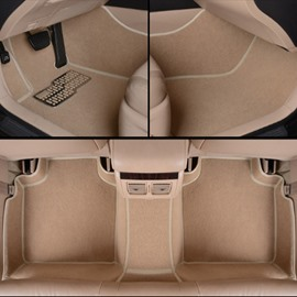 Popular Fresh Beige Comfortable Anti-Dust PVC Leather And Velvet Dedicated Car Carpet