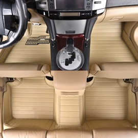 Beige Luxury With Unique All Surrounded Design Custom-Fit PVC Leather Car Carpet