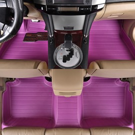Purple Colored Waterproof Durable PVC Leather Custom Fit Car Floor Mats