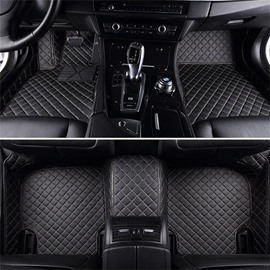 Luxury Series Plaid Trims Design Leather Carpet Custom Fit Car Floor Mats Liners