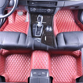 Top-notch Leather Grid Line Design Onefold Color Durable Custom Fit Car Floor Mats