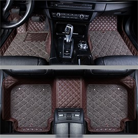 Double Layer Fabric Grid Line Design Bright-coloured Durable Custom Fit Car Floor Mats