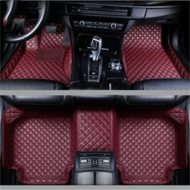Durable Leather Grid Line Design Bright-coloured Durable Custom Fit Car Floor Mats Anti-skid Wear-resistant Dirt-resistant Durable And Breathable