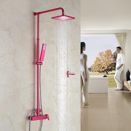 New Fashion Unique Red Rose Color Thermostatic Shower Head Set