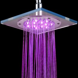 8 Inches New Arrival LED Rainfall Shower Head Faucet Changing Colors by Temperature