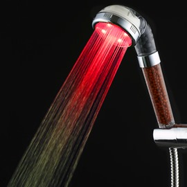 Unique Silver LED Shower Head Many Colors Changing by Temperature