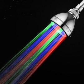Colorful Light Washable LED Shower Head by Temperature