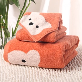 Cartoon Bear Soft 100% Cotton Bath Tower Set