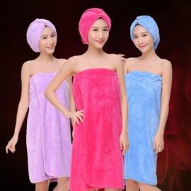 Five Colors Pure Cotton Bath Towel Wrap Set for Ladies