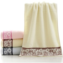 Plush Super Cozy Flower Border Cotton Towel