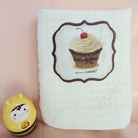 Cute Tasty Cake Check Pattern Cotton Towel