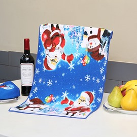 Attractive Brisk Santa and Snowman Printing Christmas Theme Dark Blue Towel