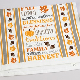 Pumpkin and Maple Leaf White Printing Face & Hand Towel