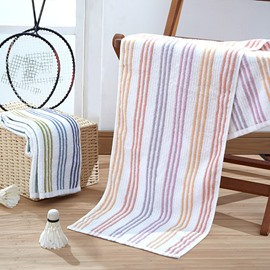 Rectangular Soft Cotton Indoor Stripe Pattern Face&Hand Towel