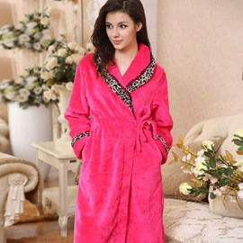 Wonderful Fashion Cozy Leopard Design Rose Bathrobe