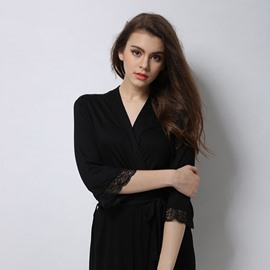 Charming Modal Fashion Black Lace Women' s Bathrobe