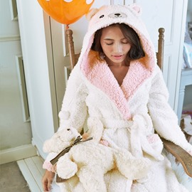 Sweet White and Pink Bear Design Warm Cashmere Women Bathrobe with Hood