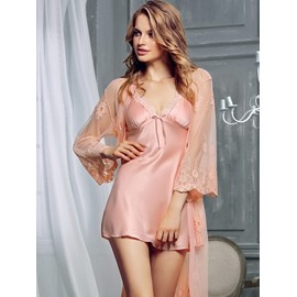 Sexy Pink Imitate Silk Chemise & Women's Bathrobe Set