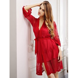 Sexy Red Imitate Silk Chemise & Women's Bathrobe Set