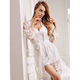 Sexy White Imitate Silk Women's Bathrobe Set