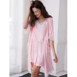 Pink or Gray Hollow Lace Knee-Length Women's Bathrobe Set