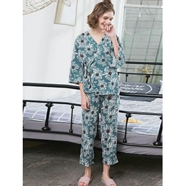 Blue Floral Pattern Regular-sleeved Women's Bathrobe Set
