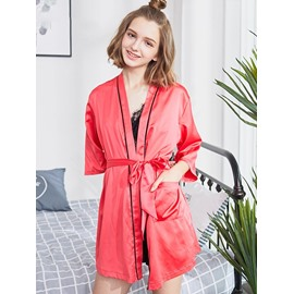 Letter Pattern Sexy Lace-up Polyester Women's Bathrobe
