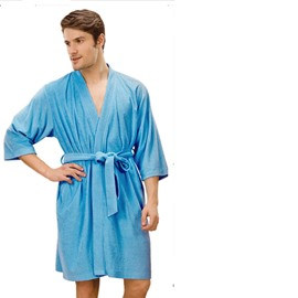 Summer Cotton Toweling Material Men's Bathrobe