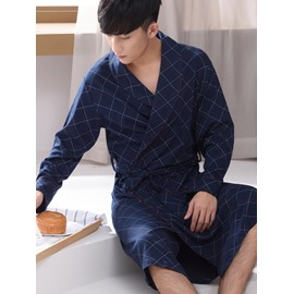Dark Blue Checked Printing Cotton Men's Bathrobe