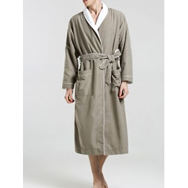 Army Green Lace-Up Thick Warm Long Sleeve Male Bathrobe