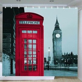 3D Big Ben and Red Telephone Booth Printed Polyester Bathroom Shower Curtain