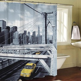 Fashionable City Scene Print Polyester Shower Curtain