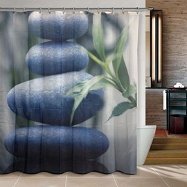 Graceful Blue Stone Tower Print 3D Shower Curtain