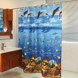 Dynamic Blue Ocean World Dacron Shower Curtain