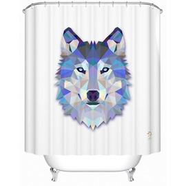 3D Wolf Head Printed Polyester White Shower Curtain
