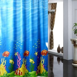 Lovely Cartoon Fishes Ocean Style Shower Curtain