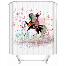 Chic Riding Girl Romantic Butterfly Shower Curtain