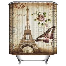 Retro Romatic Eiffel Tower 3D Printing Bathroom Shower Curtain