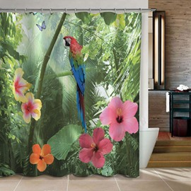 3D Parrot and Forest Printed Polyester Brown Bathroom Shower Curtain