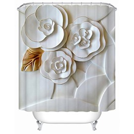 3D Flowers Printed Polyester White Bathroom Shower Curtain