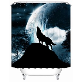 3D Wolf Under the Moonlight Printed Dark Blue Polyester Shower Curtain