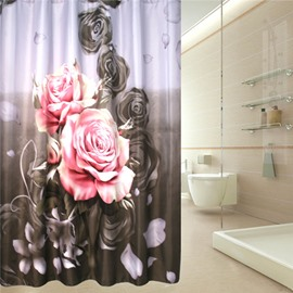 3D Roses Printed Polyester Gray Bathroom Shower Curtain