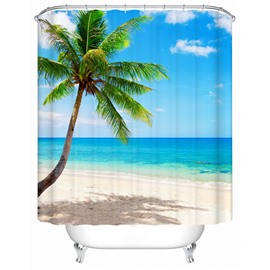 Wonderful Beach and Coconut Tree Print 3D Shower Curtain