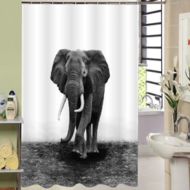 3D Mouldproof Elephant Printed Polyester Gray Bathroom Shower Curtain