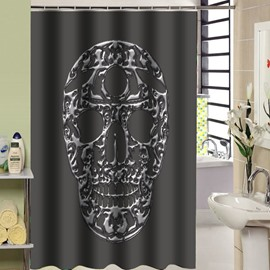 3D Waterproof and Mouldproof Skull Printed Polyester Gray Shower Curtain