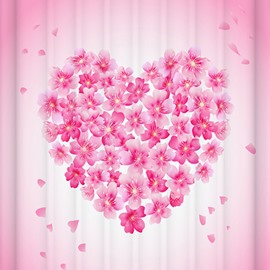 Attractive Pink Floral Heart Design 3D Shower Curtain